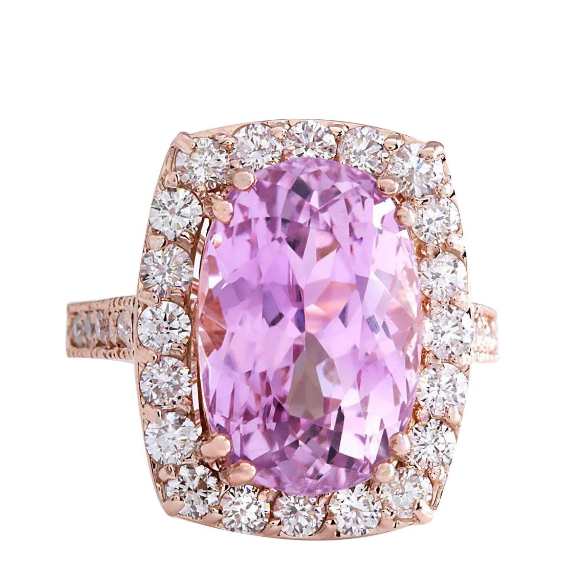 12.33CTW Natural Kunzite And Diamond Ring 18K Solid