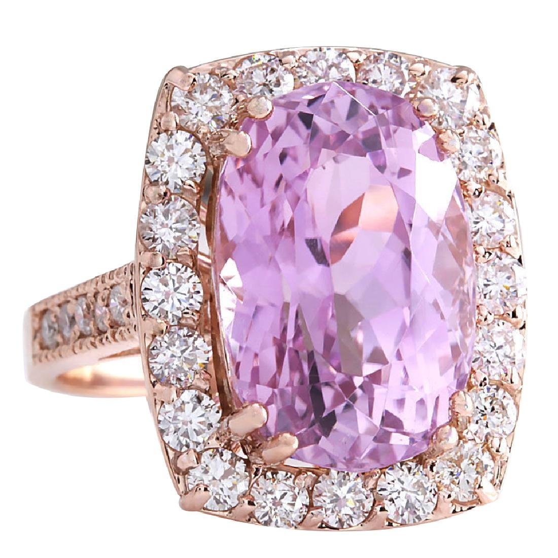 12.33CTW Natural Kunzite And Diamond Ring 18K Solid - 2