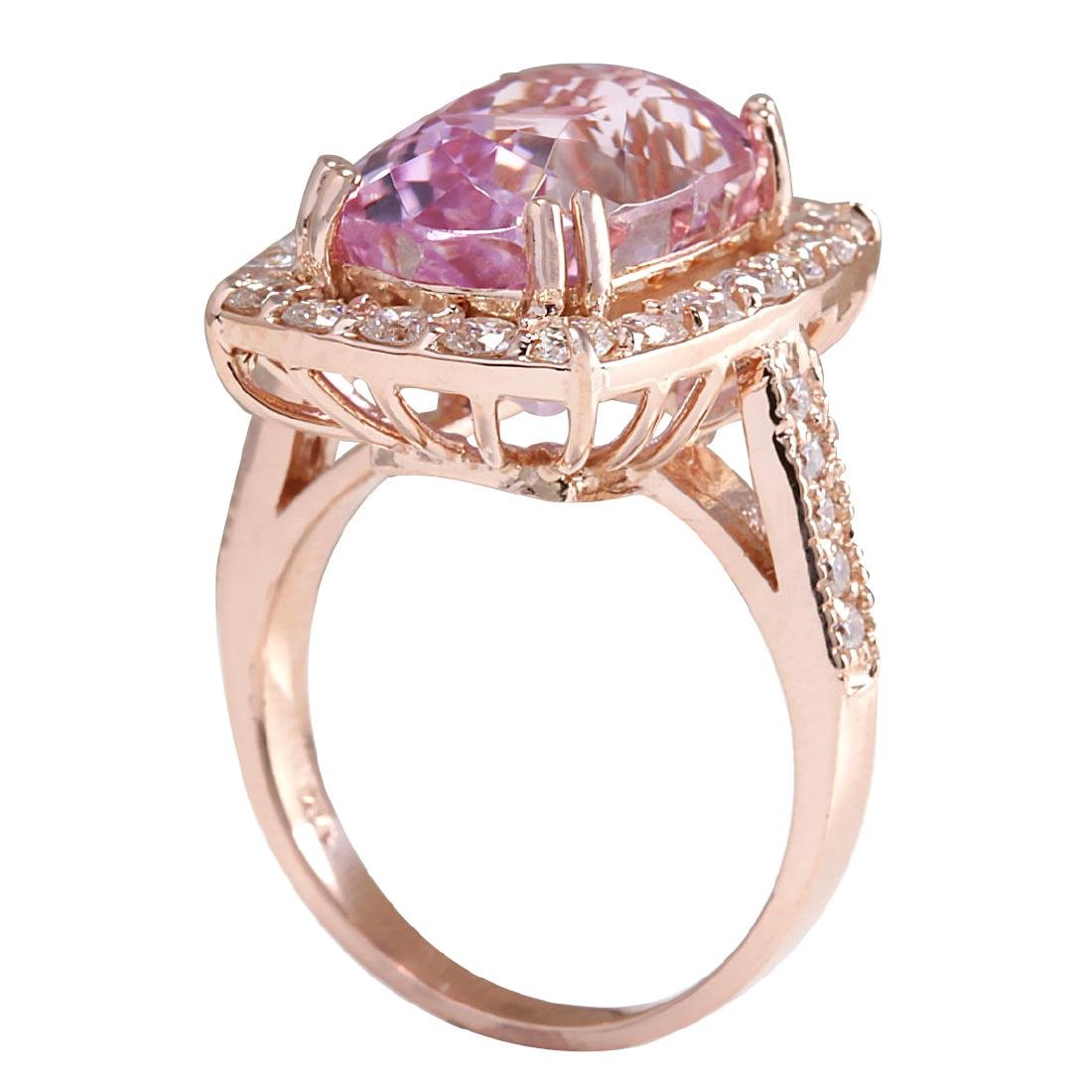 12.33CTW Natural Kunzite And Diamond Ring 18K Solid - 3