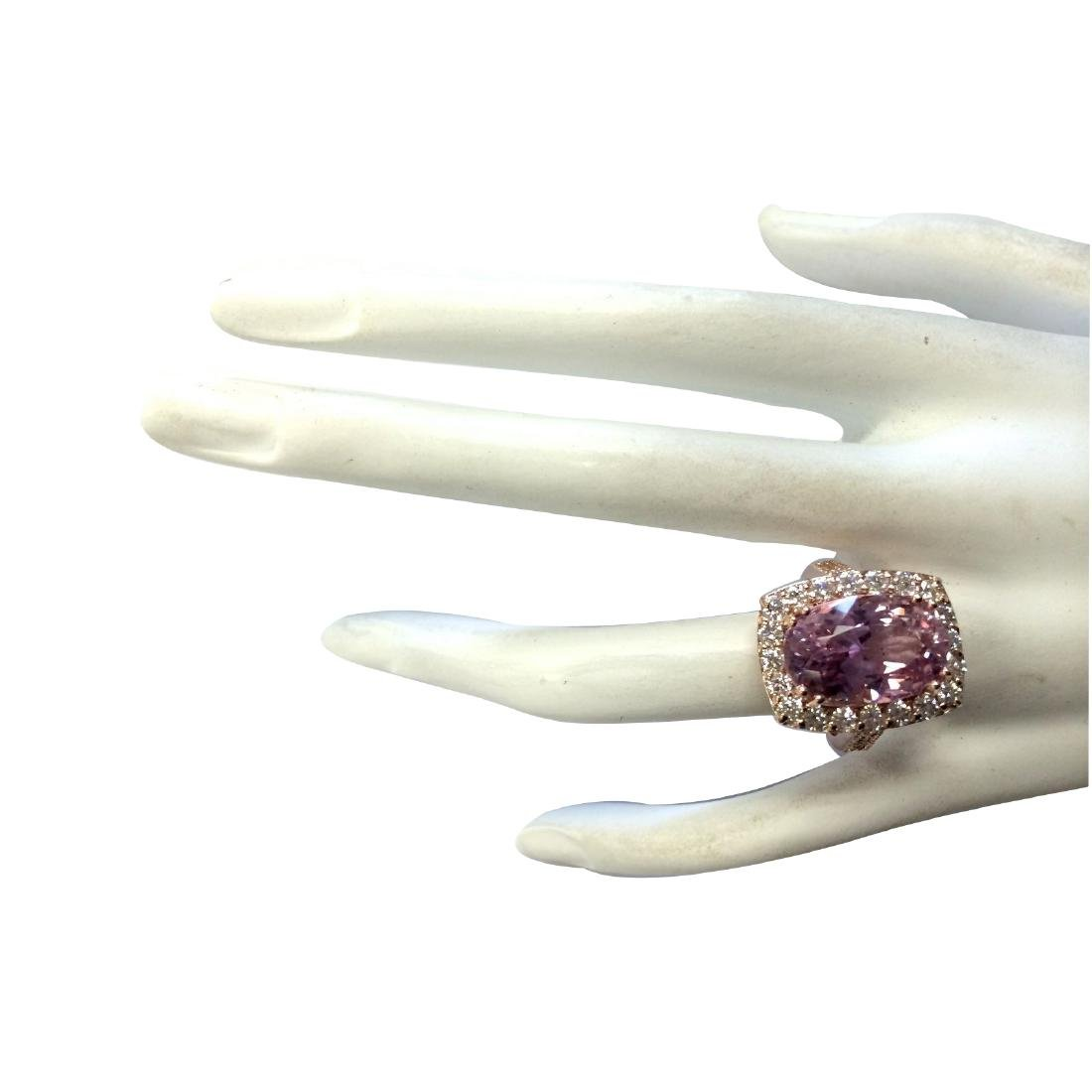 12.33CTW Natural Kunzite And Diamond Ring 18K Solid - 4