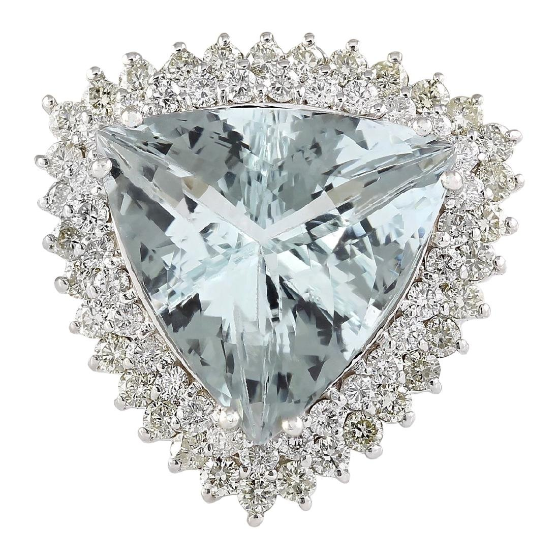 18.22 CTW Natural Aquamarine And Diamond Ring In 18K