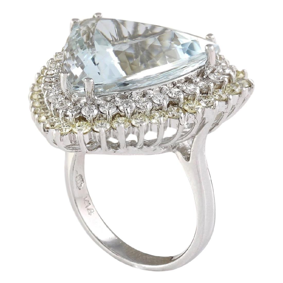 18.22 CTW Natural Aquamarine And Diamond Ring In 18K - 3
