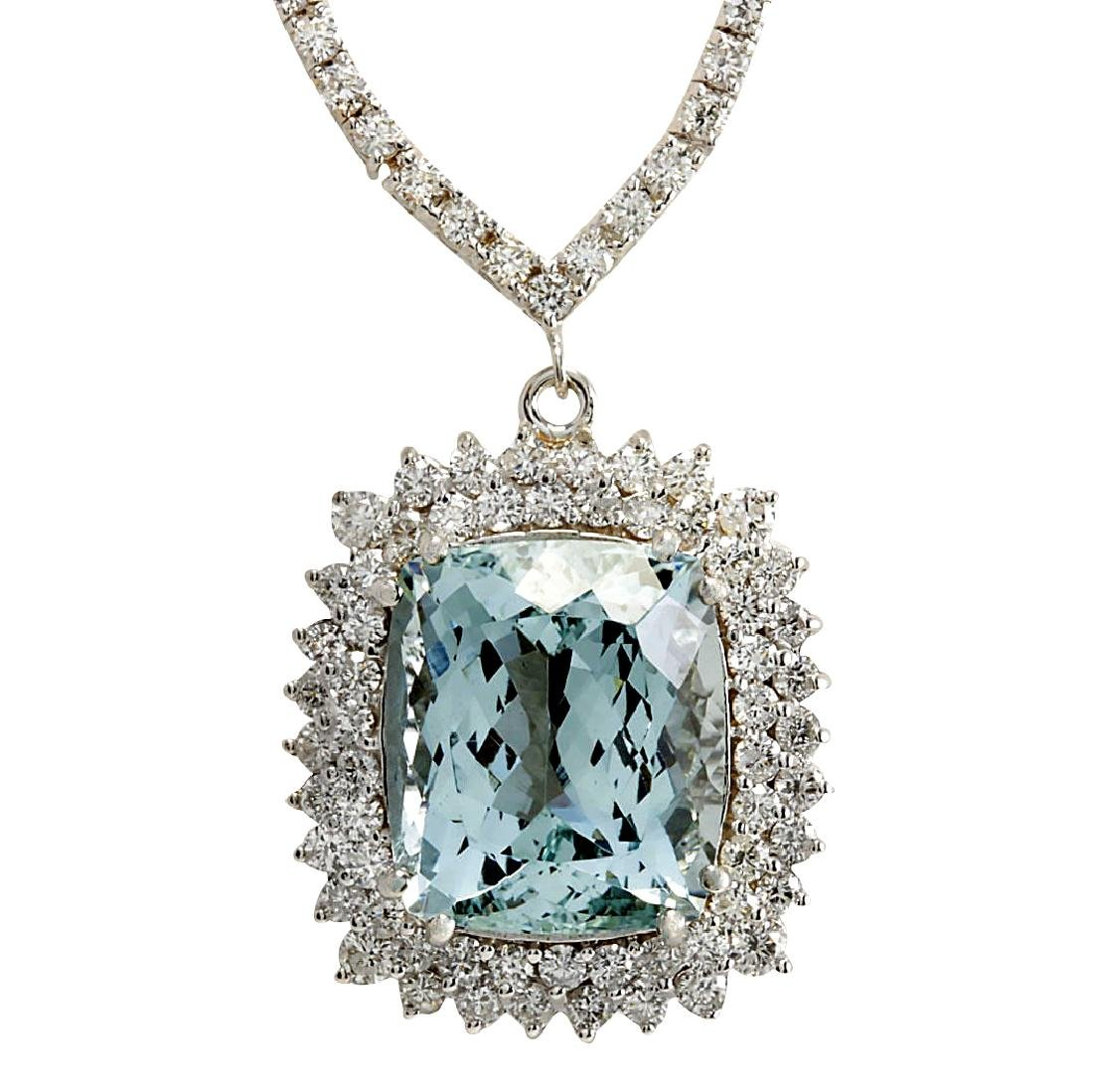 19.05CTW Natural Aquamarine And Diamond Necklace In 18K
