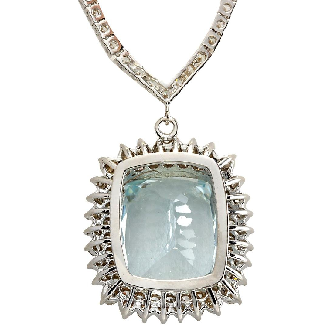 19.05CTW Natural Aquamarine And Diamond Necklace In 18K - 2