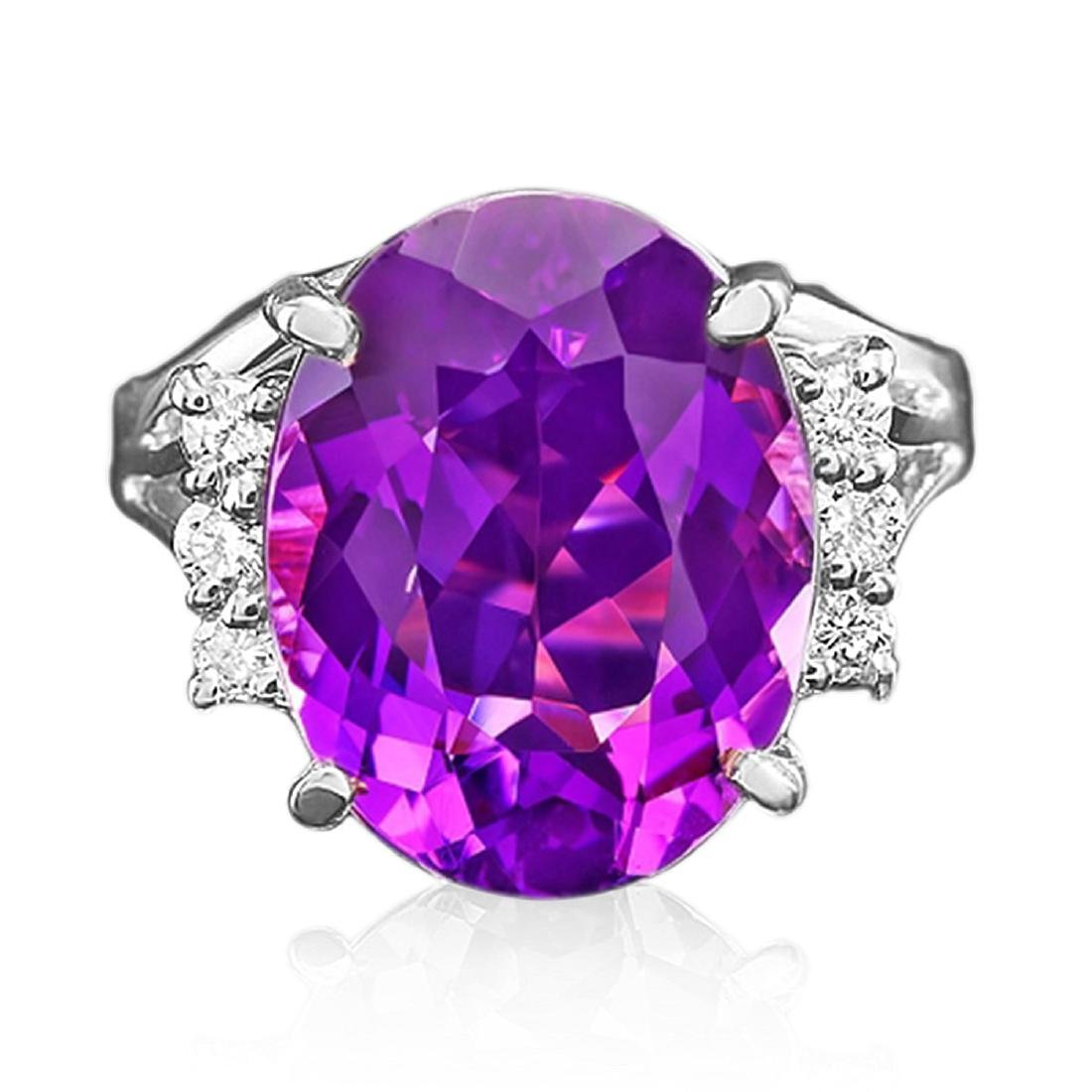 9.25 Carat Natural Amethyst 18K Solid White Gold