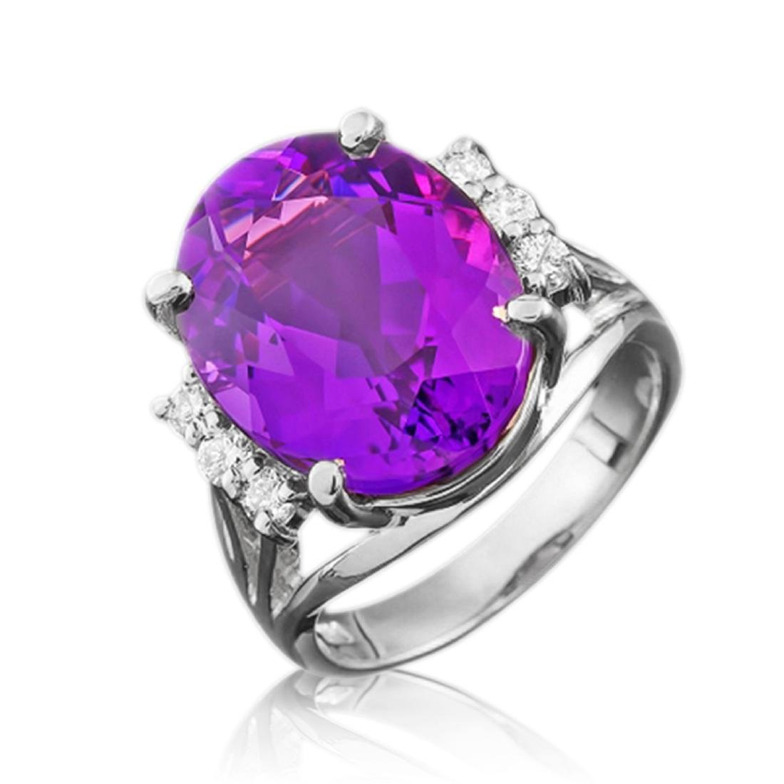 9.25 Carat Natural Amethyst 18K Solid White Gold - 2