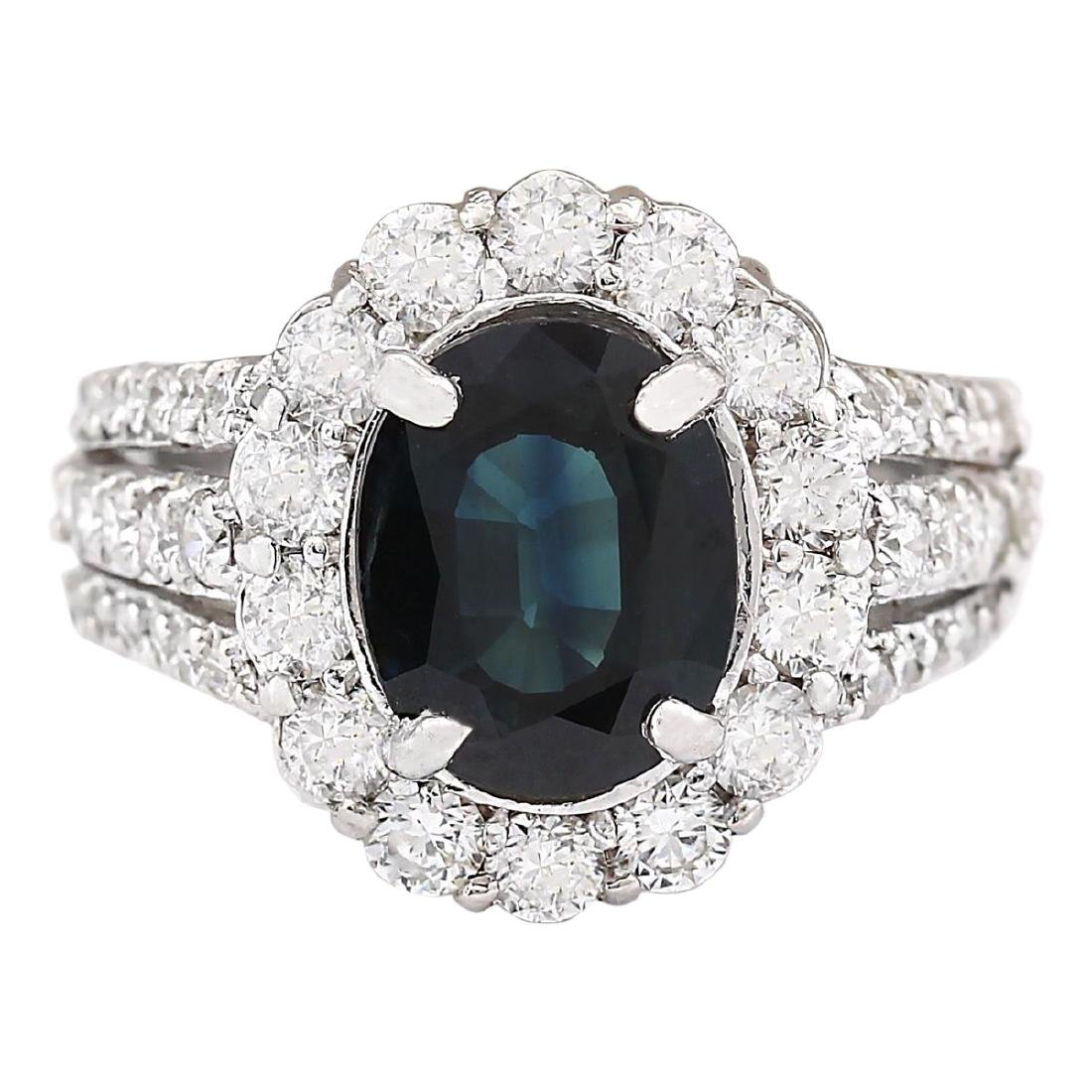 4.70 CTW Natural Blue Sapphire And Diamond Ring In 18K