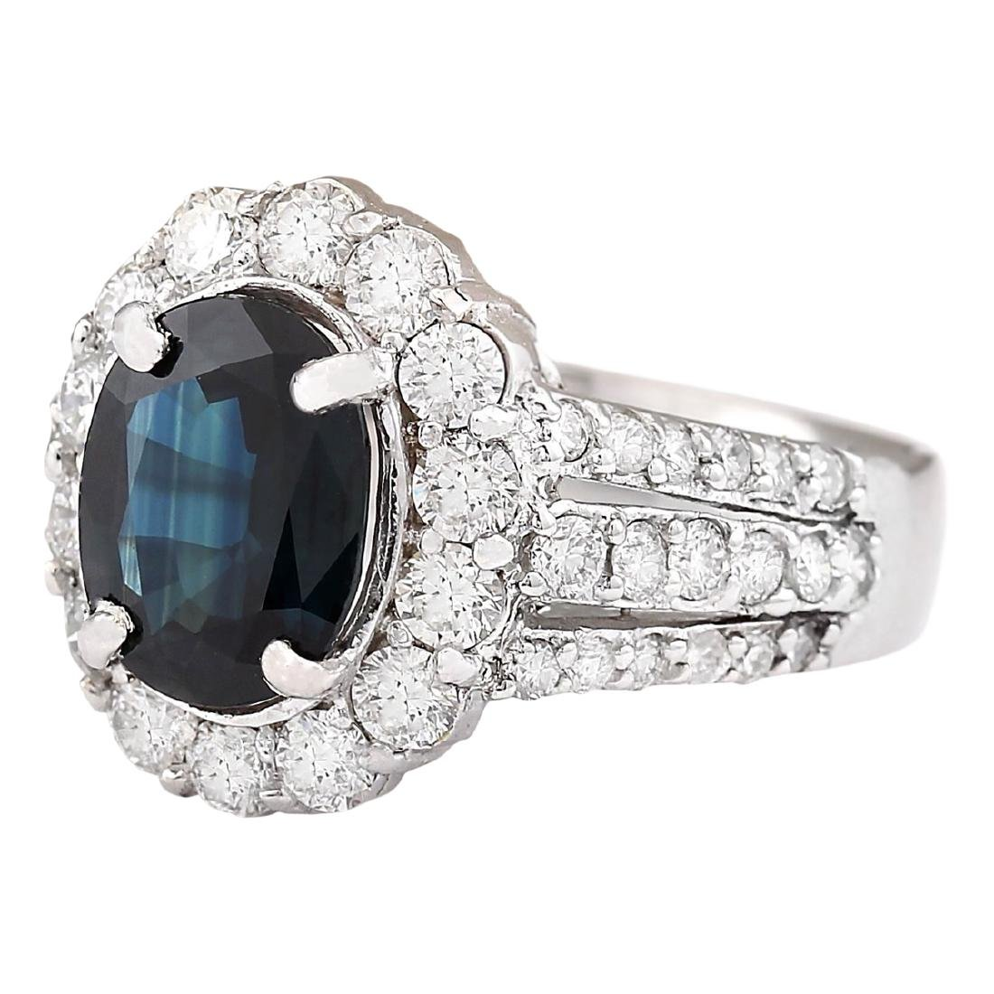 4.70 CTW Natural Blue Sapphire And Diamond Ring In 18K - 2