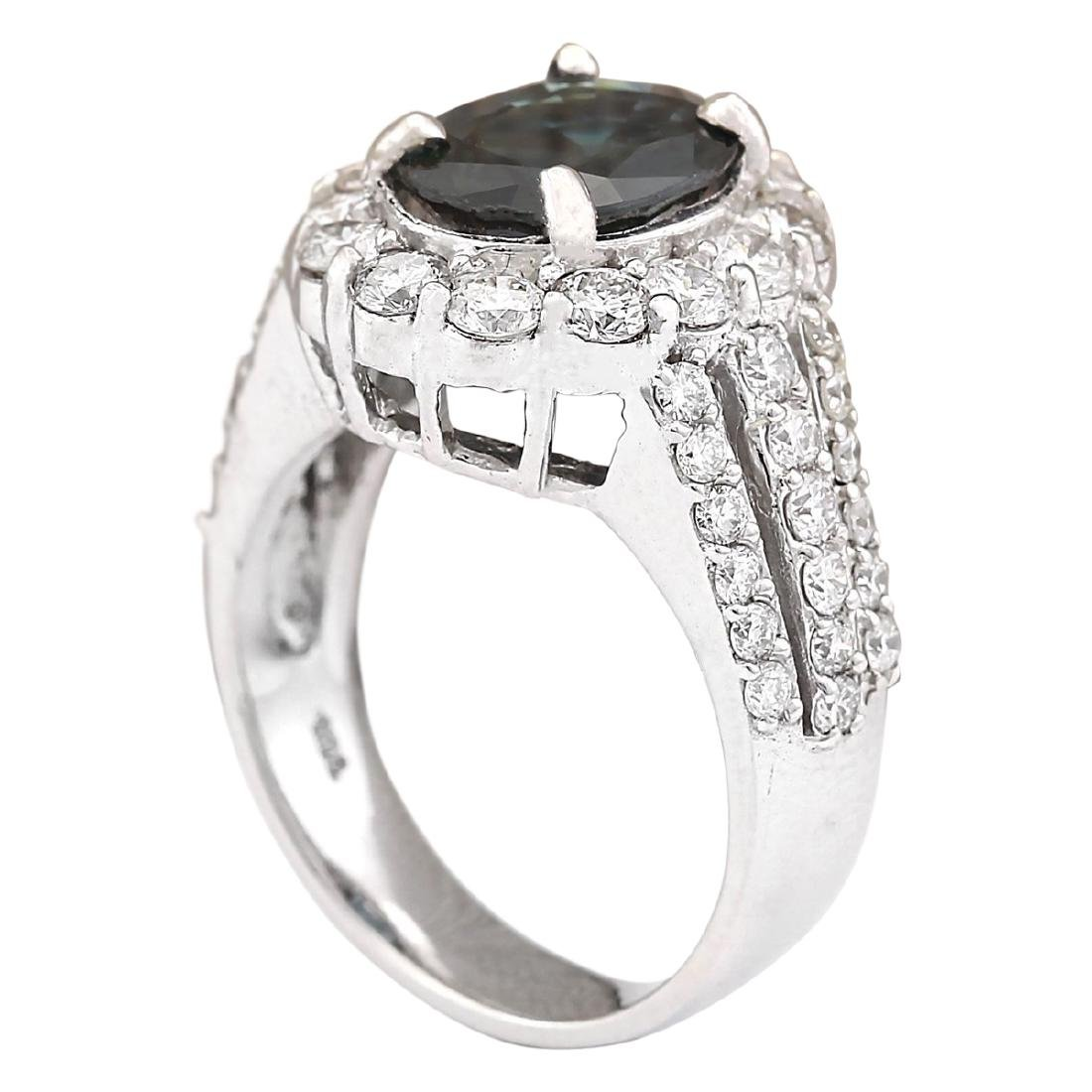 4.70 CTW Natural Blue Sapphire And Diamond Ring In 18K - 3