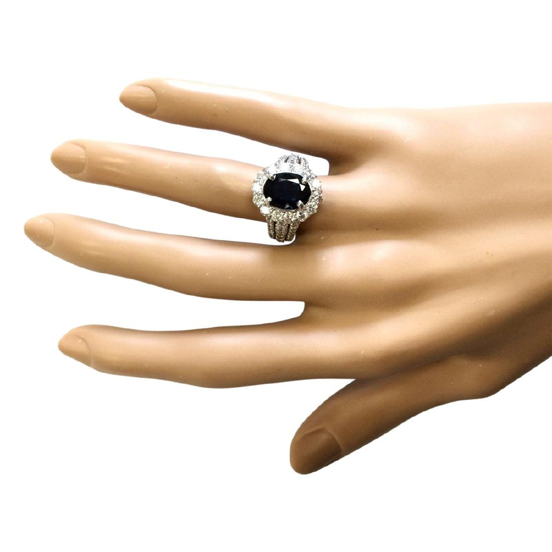 4.70 CTW Natural Blue Sapphire And Diamond Ring In 18K - 4