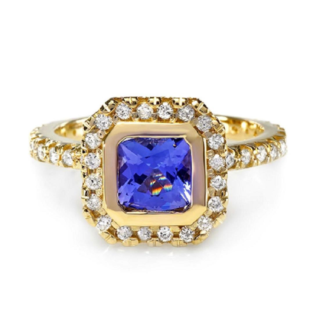 1.50 Carat Natural Tanzanite 18K Solid Yellow Gold
