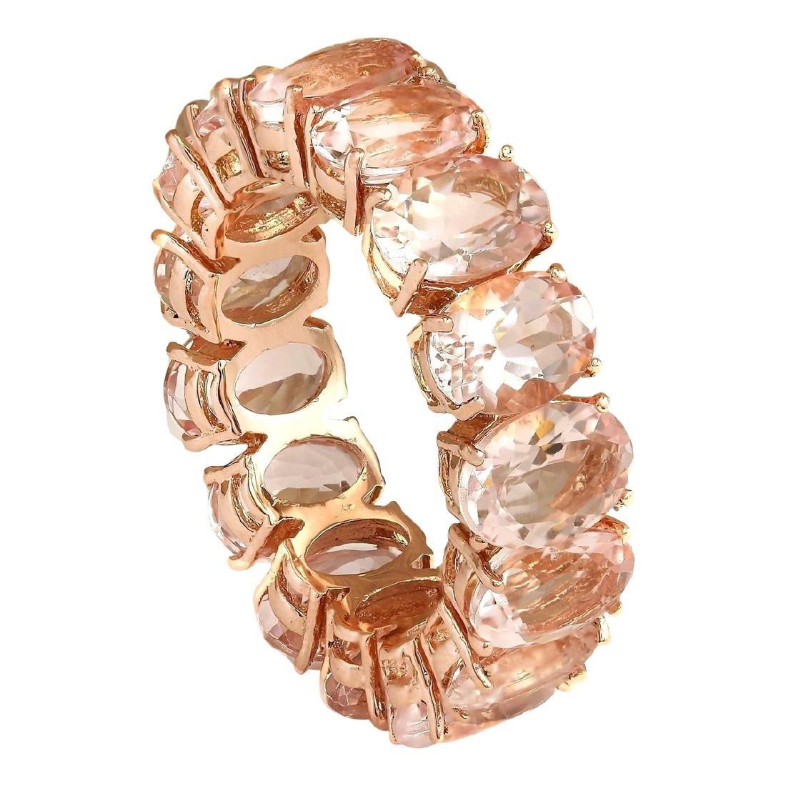 11.10 CTW Natural Morganite Ring In 18K Rose Gold - 2