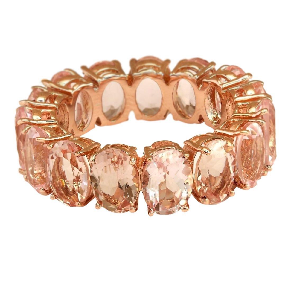 11.10 CTW Natural Morganite Ring In 18K Rose Gold - 3