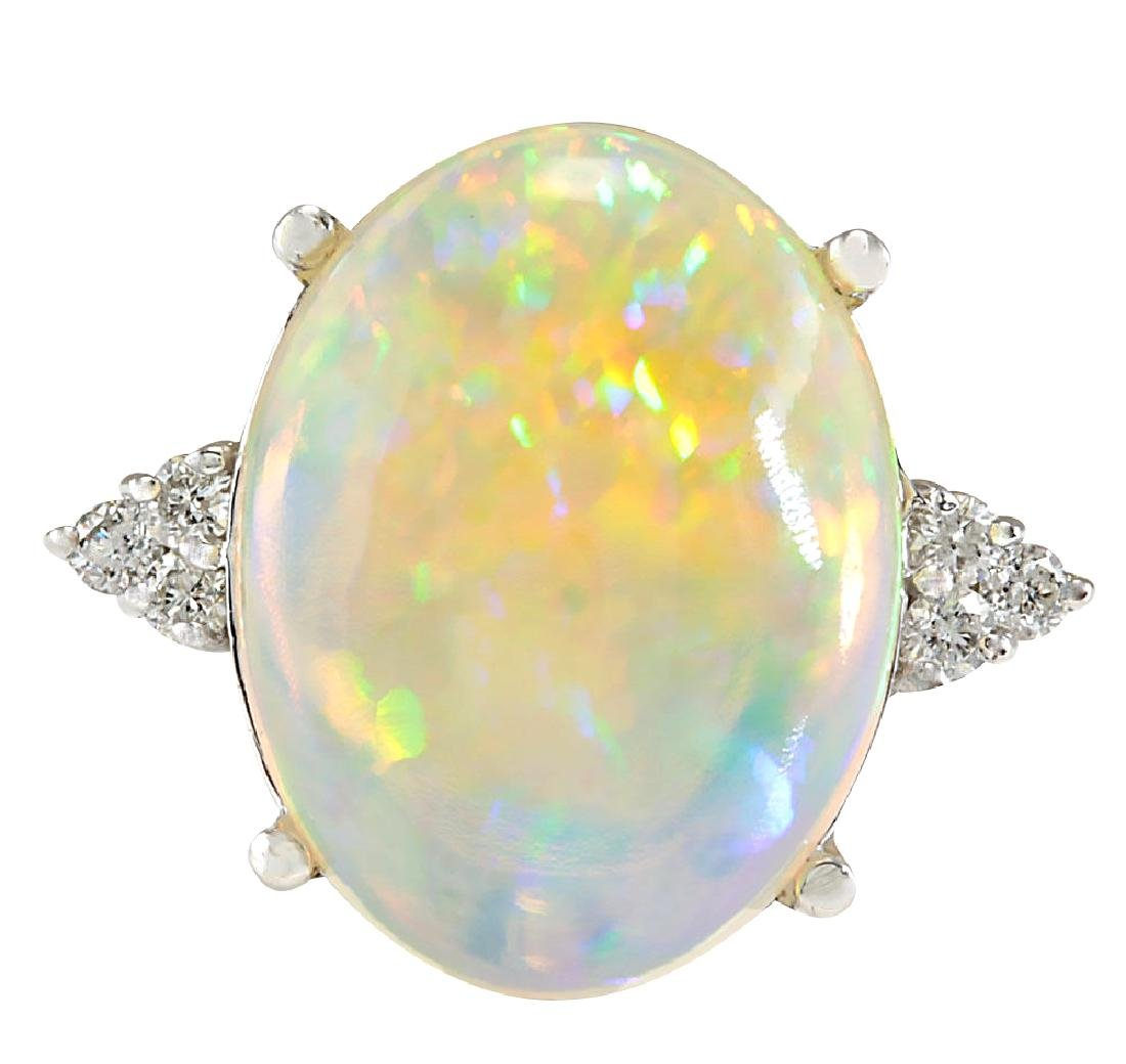9.37CTW Natural Opal And Diamond Ring In 18K White Gold