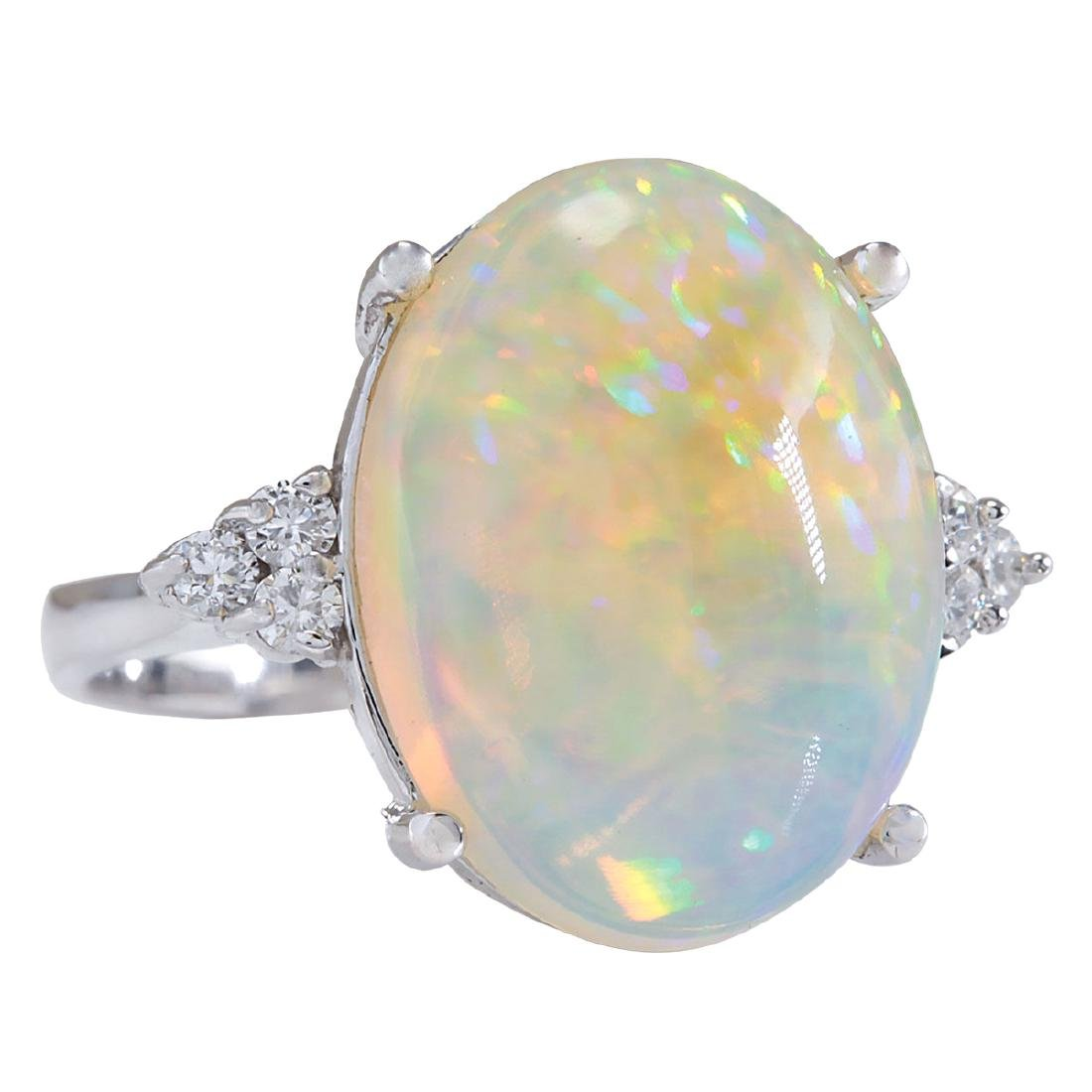 9.37CTW Natural Opal And Diamond Ring In 18K White Gold - 2