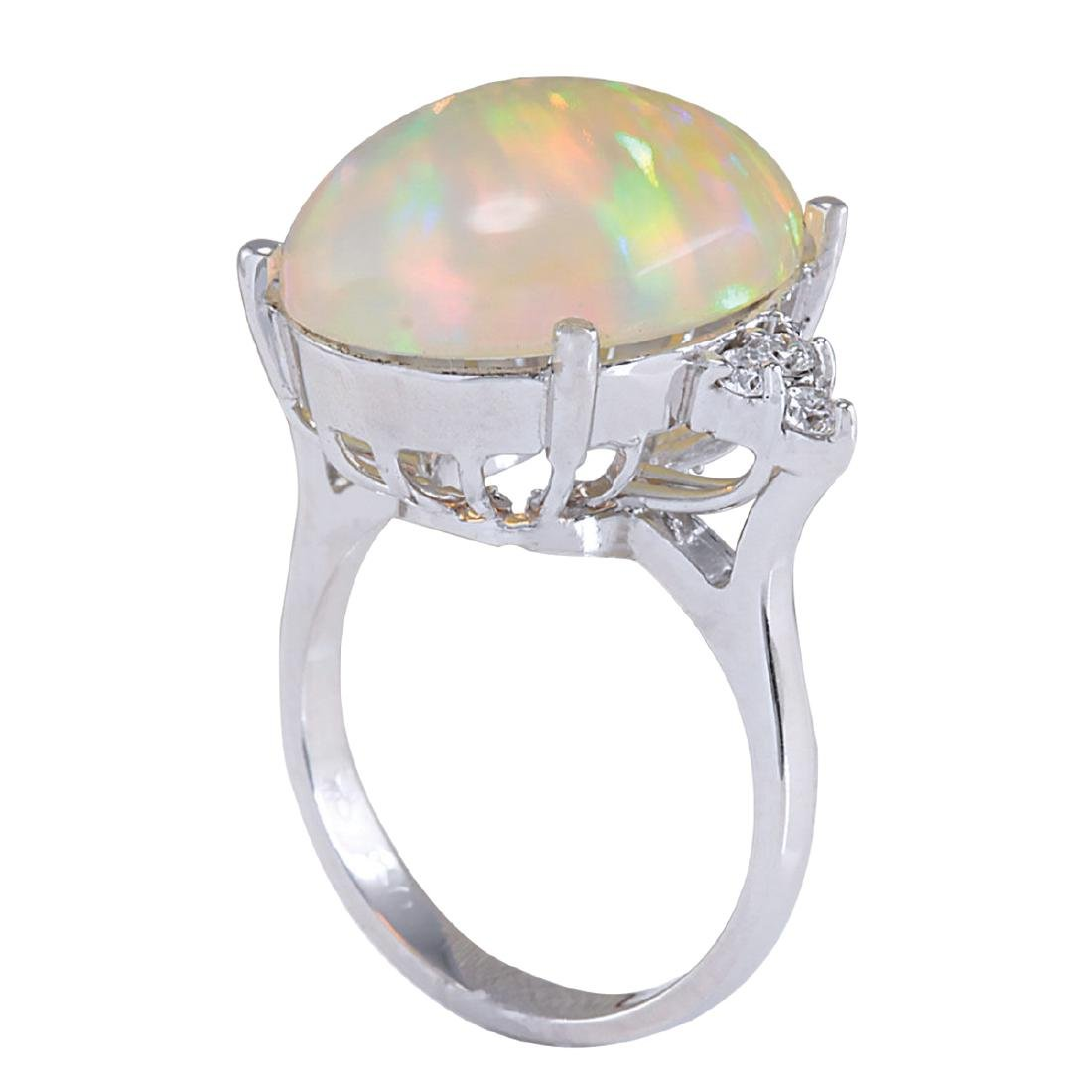 9.37CTW Natural Opal And Diamond Ring In 18K White Gold - 3