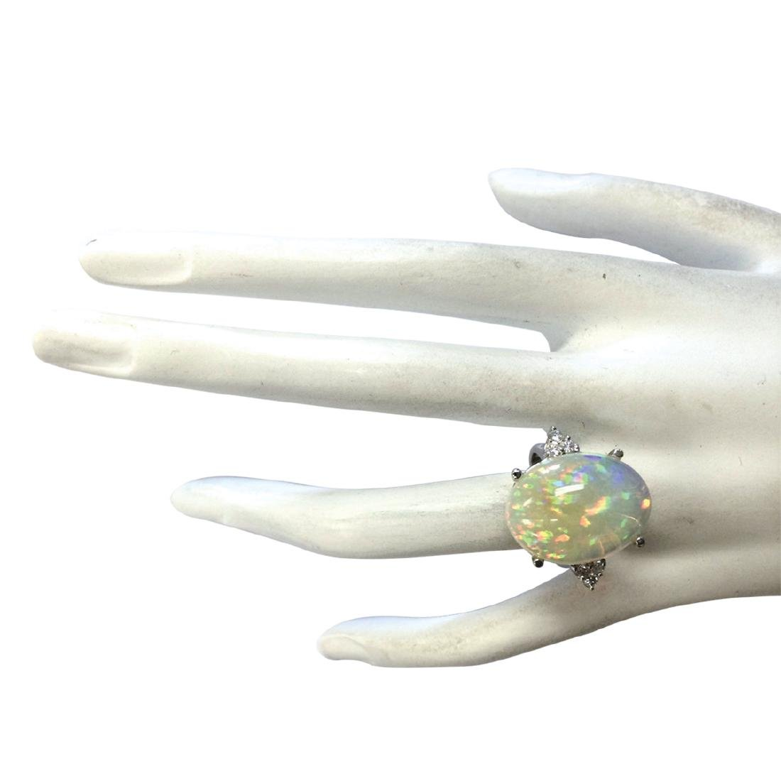 9.37CTW Natural Opal And Diamond Ring In 18K White Gold - 4