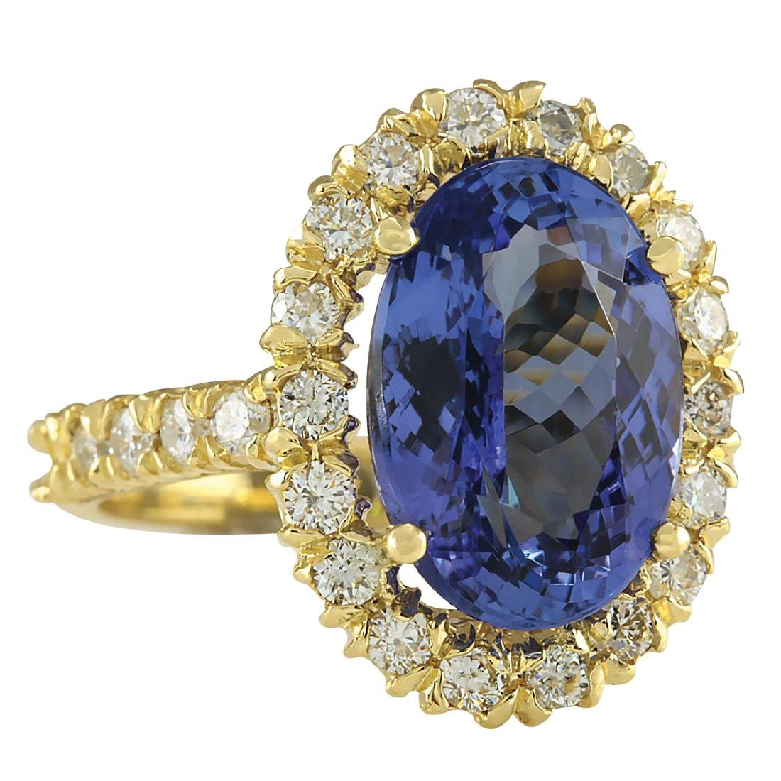 7.92CTW Natural Blue Tanzanite And Diamond Ring In 18K - 2