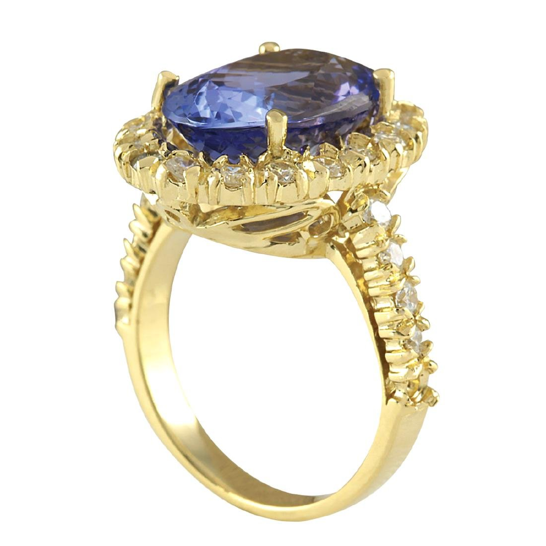 7.92CTW Natural Blue Tanzanite And Diamond Ring In 18K - 3
