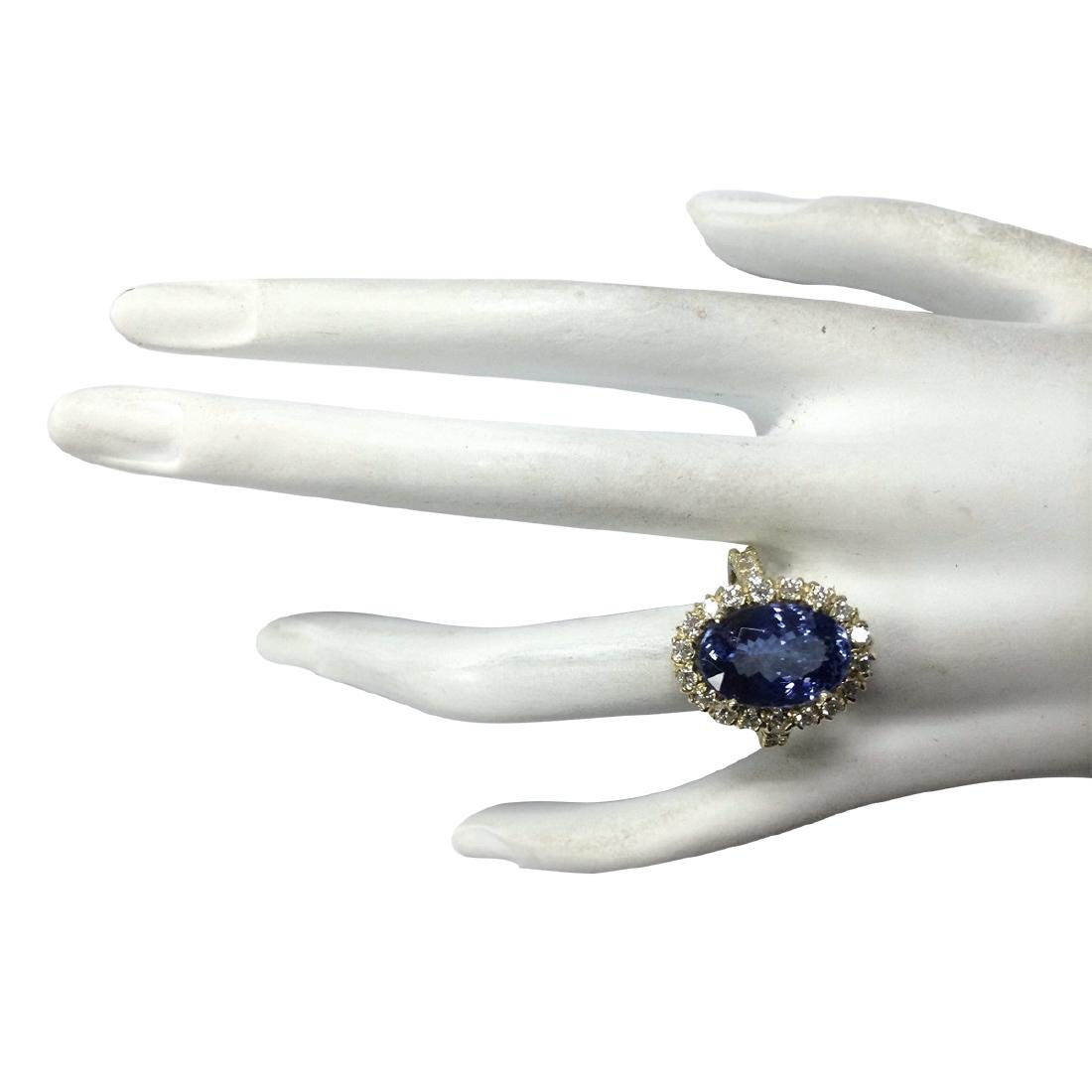 7.92CTW Natural Blue Tanzanite And Diamond Ring In 18K - 4