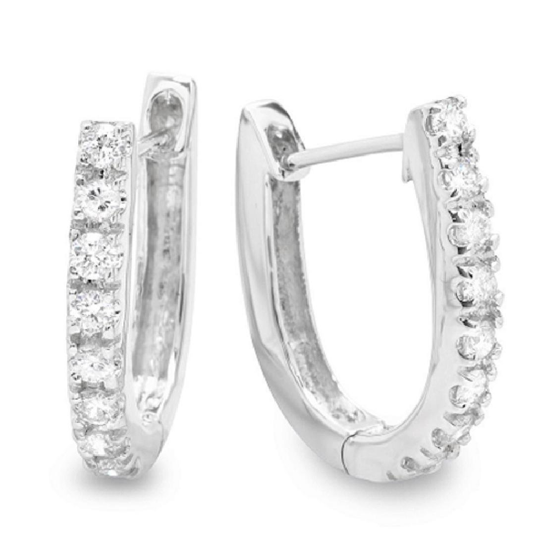 0.45 Carat Natural Diamond 18K Solid White Gold Earring