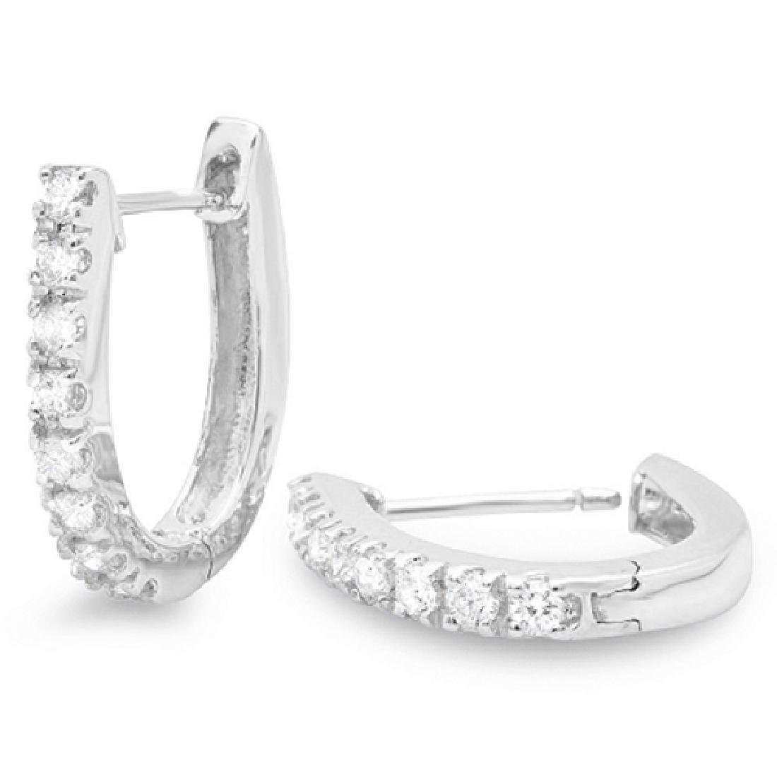 0.45 Carat Natural Diamond 18K Solid White Gold Earring - 2