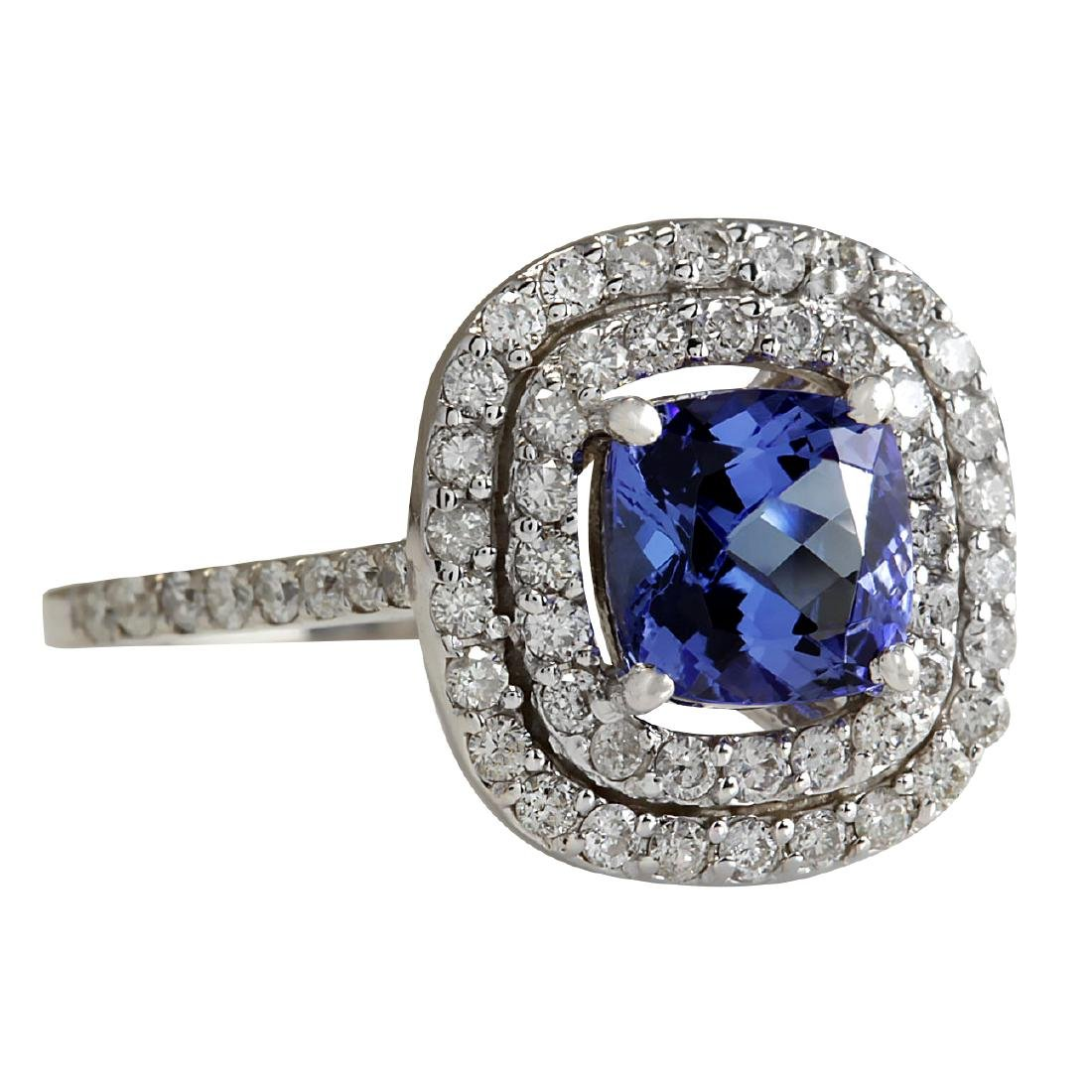 2.20 CTW Natural Blue Tanzanite And Diamond Ring In 18K - 2