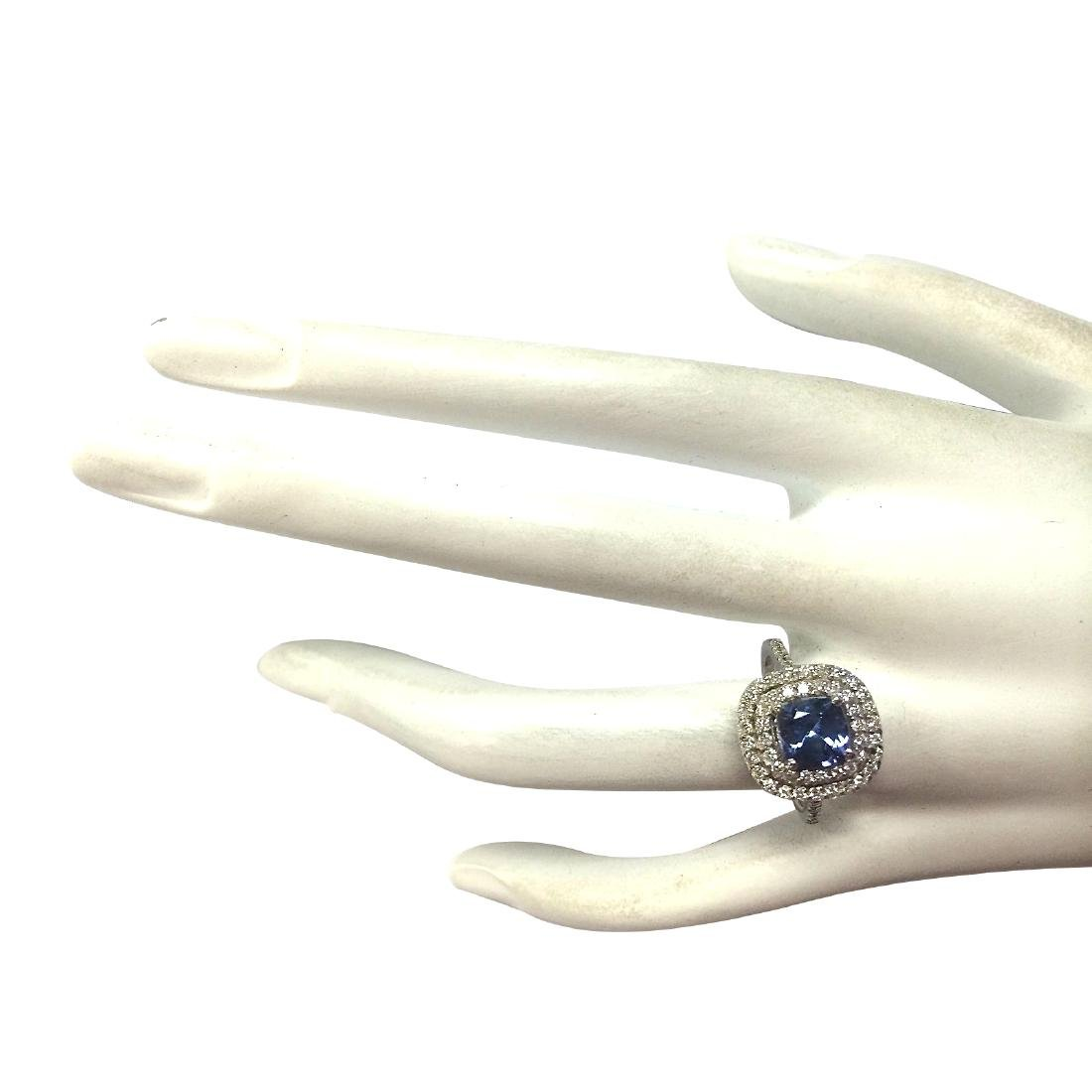 2.20 CTW Natural Blue Tanzanite And Diamond Ring In 18K - 4