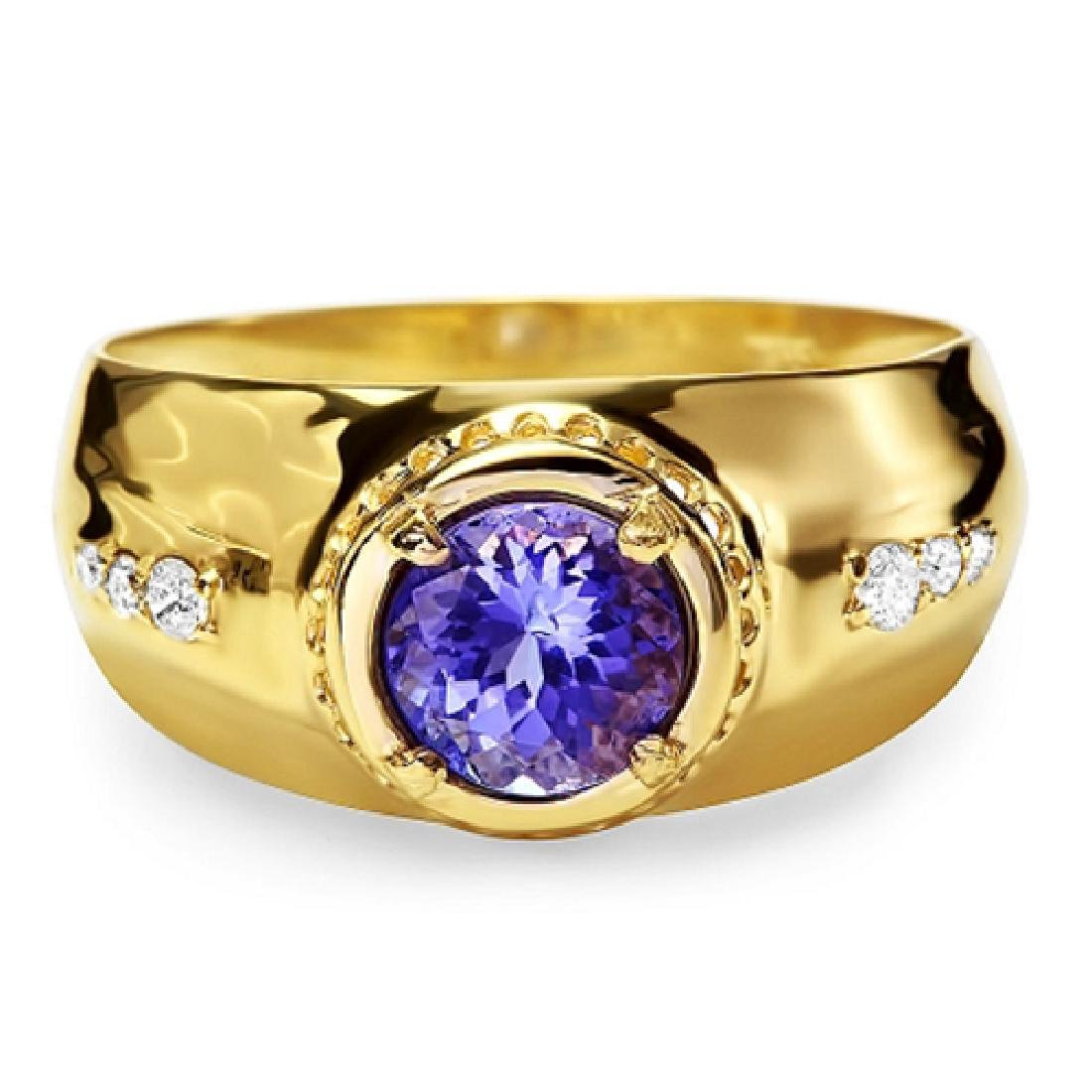 1.47 Carat Natural Tanzanite 18K Solid Yellow Gold
