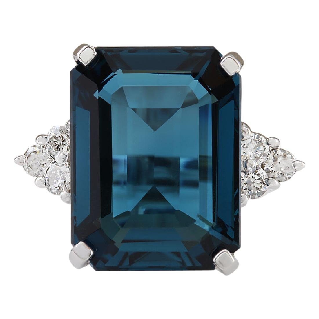 14.04 CTW Natural London Blue Topaz And Diamond Ring