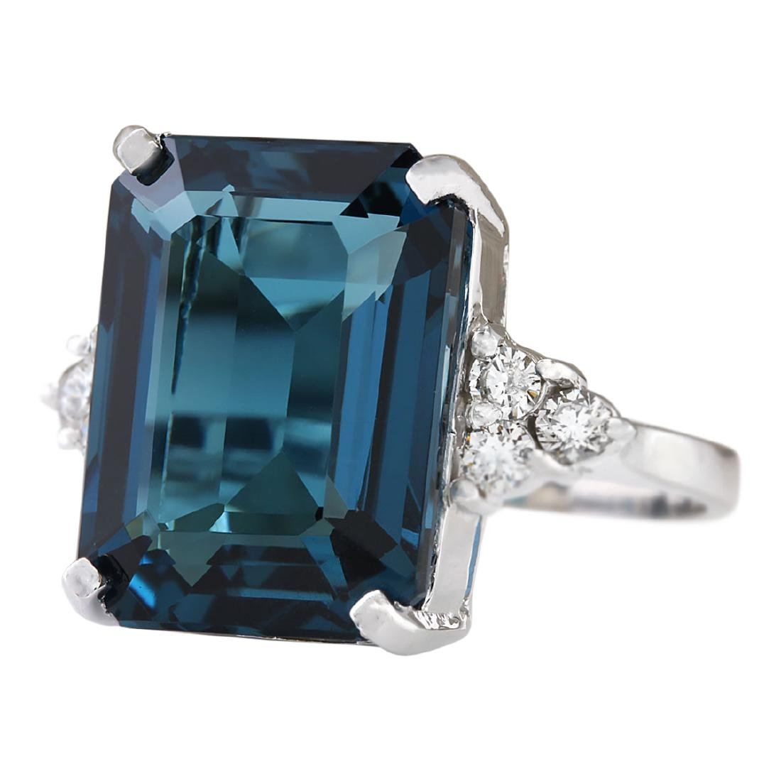 14.04 CTW Natural London Blue Topaz And Diamond Ring - 2