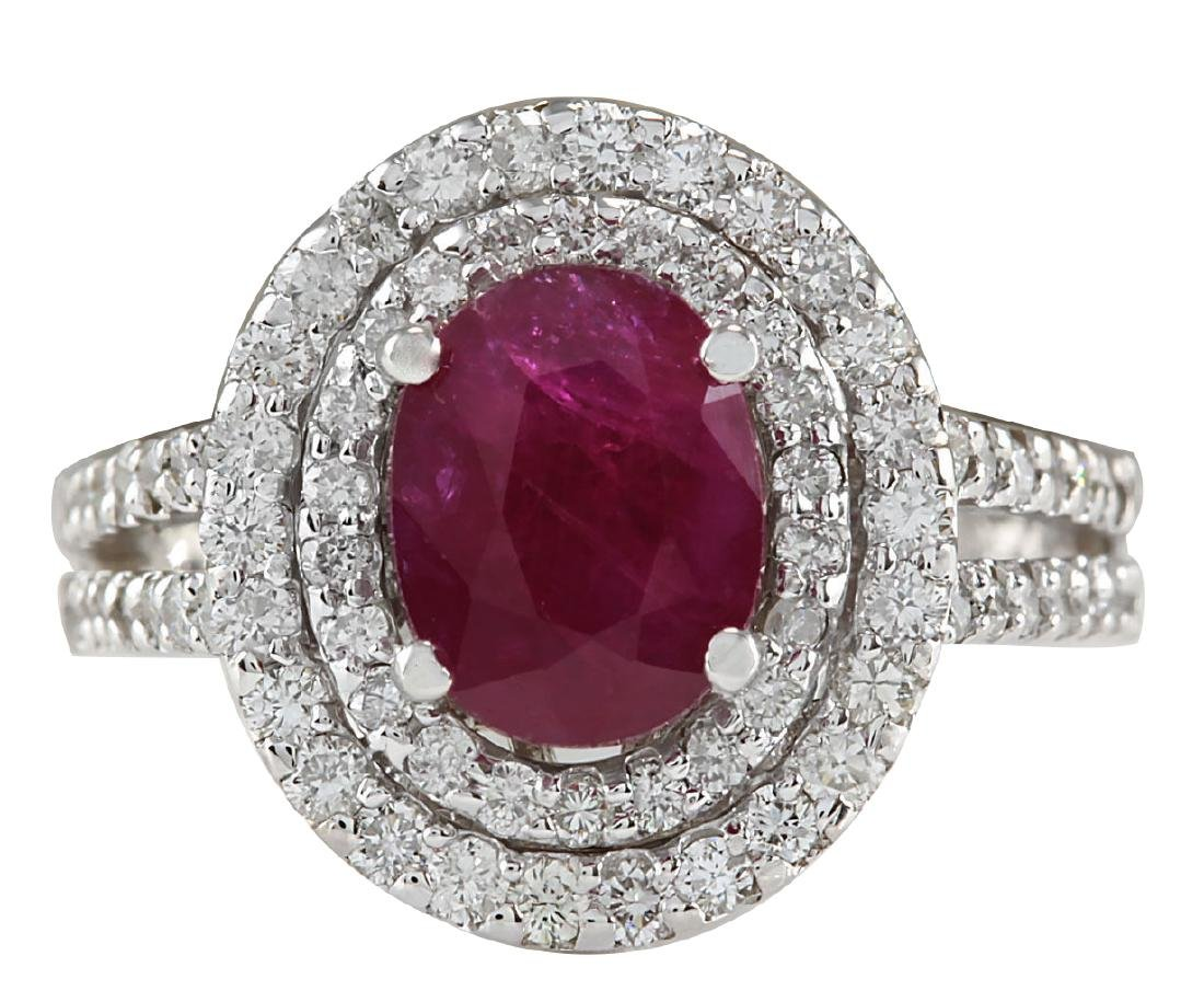 3.44CTW Natural Ruby And Diamond Ring 18K Solid White