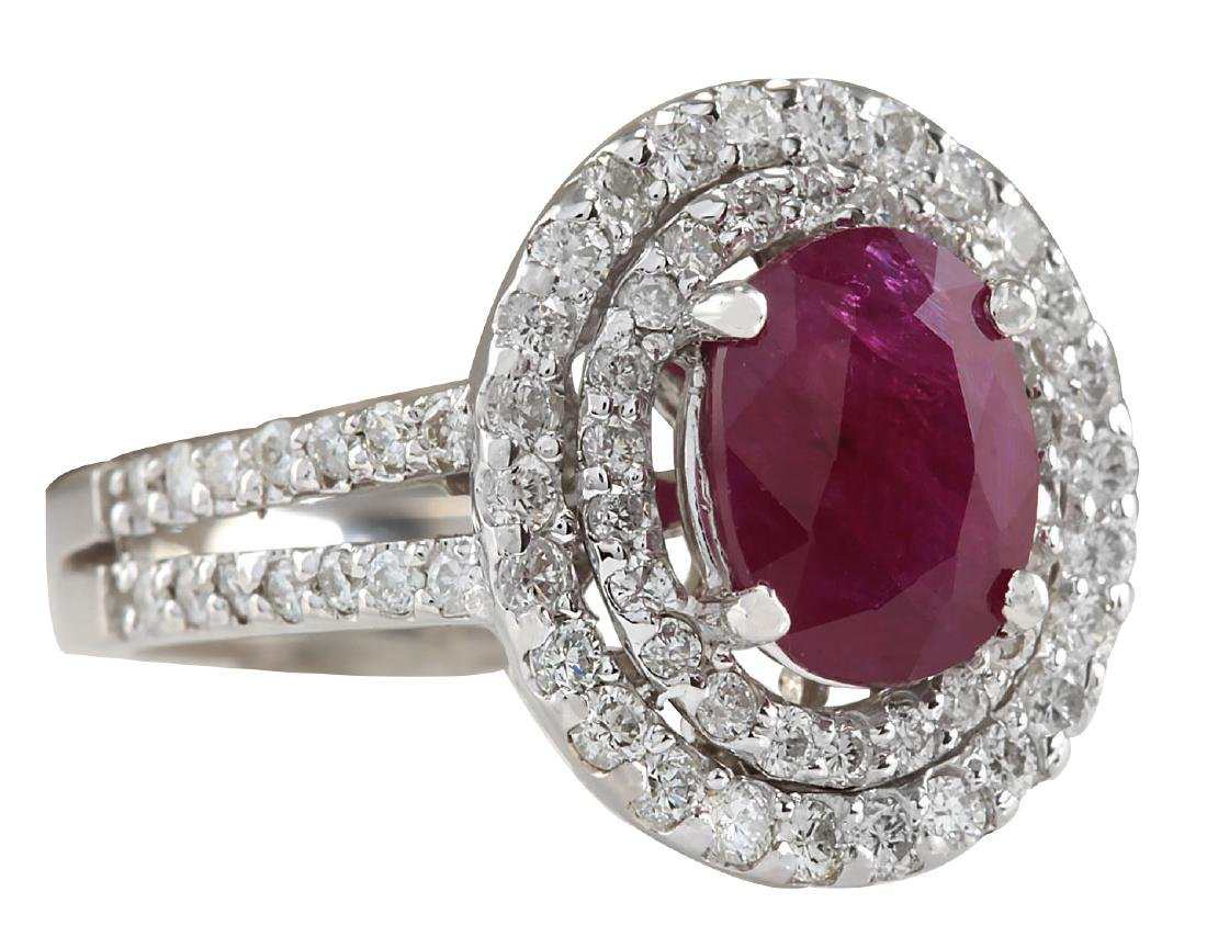 3.44CTW Natural Ruby And Diamond Ring 18K Solid White - 2