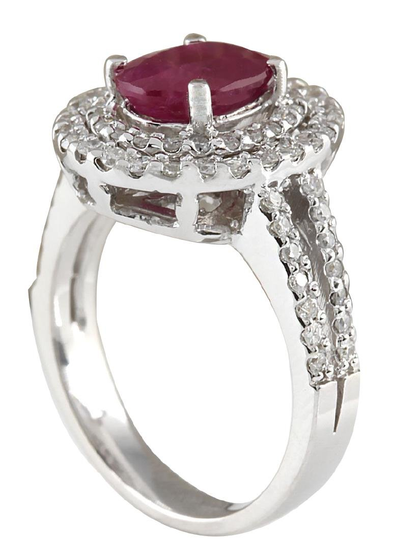 3.44CTW Natural Ruby And Diamond Ring 18K Solid White - 3