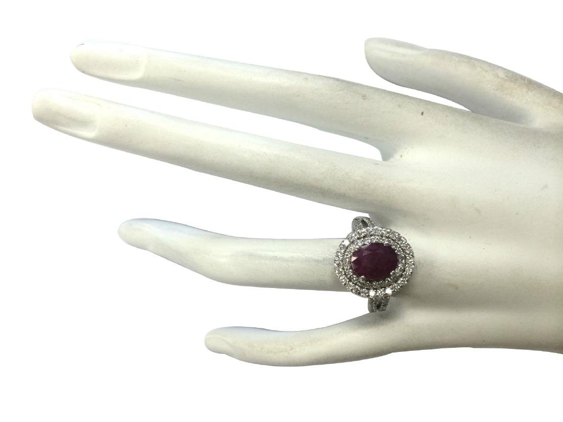 3.44CTW Natural Ruby And Diamond Ring 18K Solid White - 4