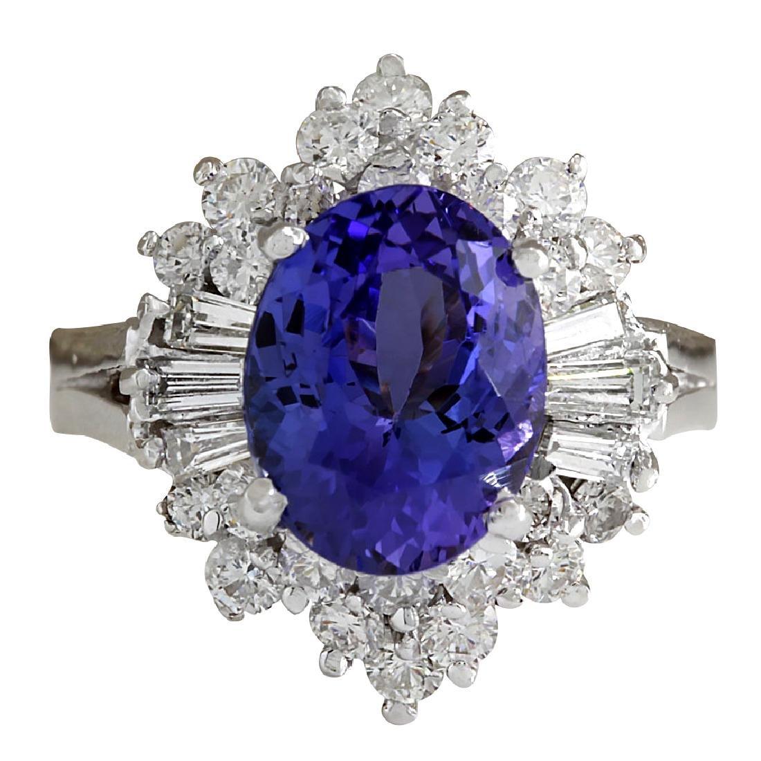5.31CTW Natural Tanzanite And Diamond Ring 18K Solid