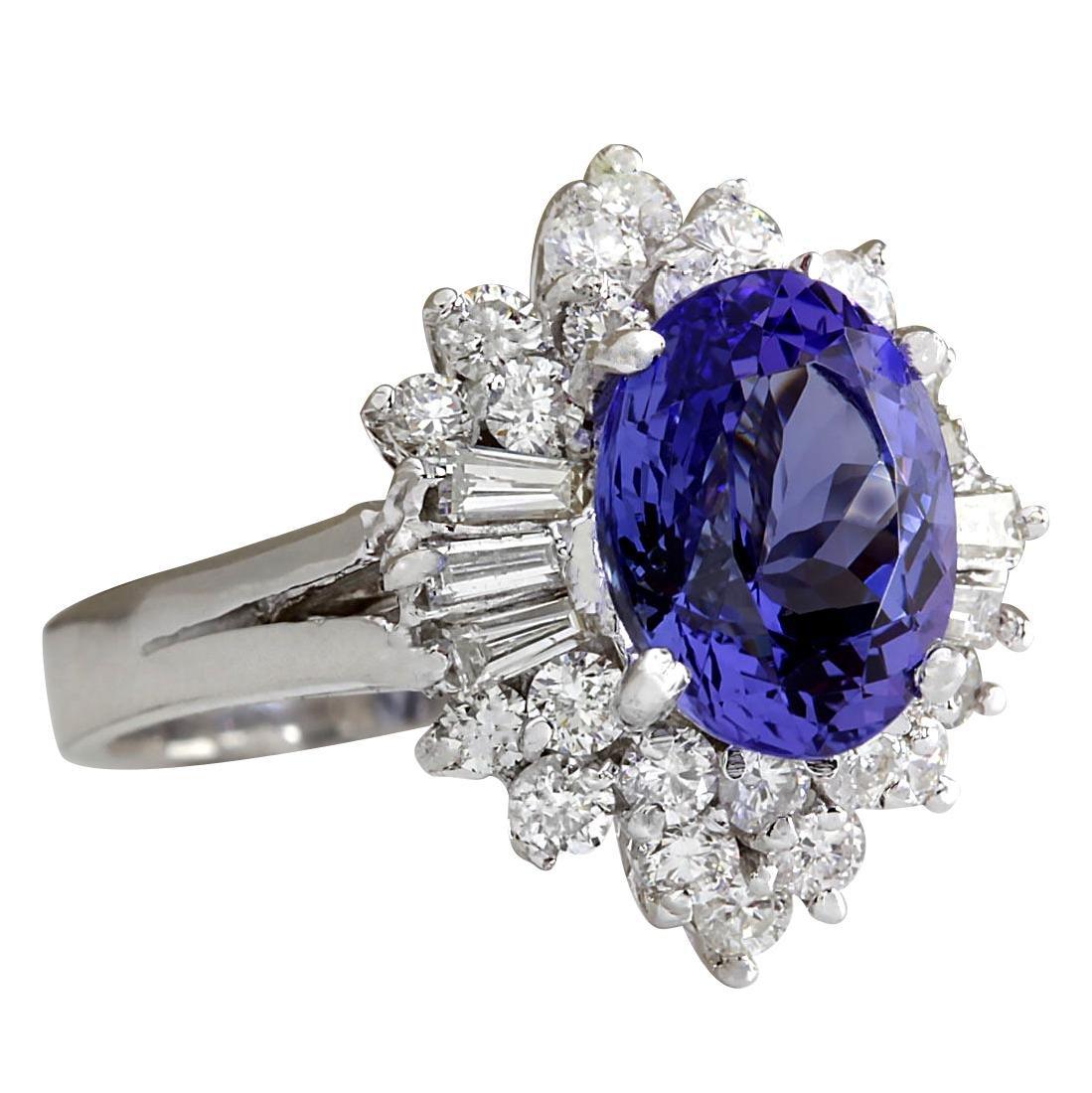5.31CTW Natural Tanzanite And Diamond Ring 18K Solid - 2