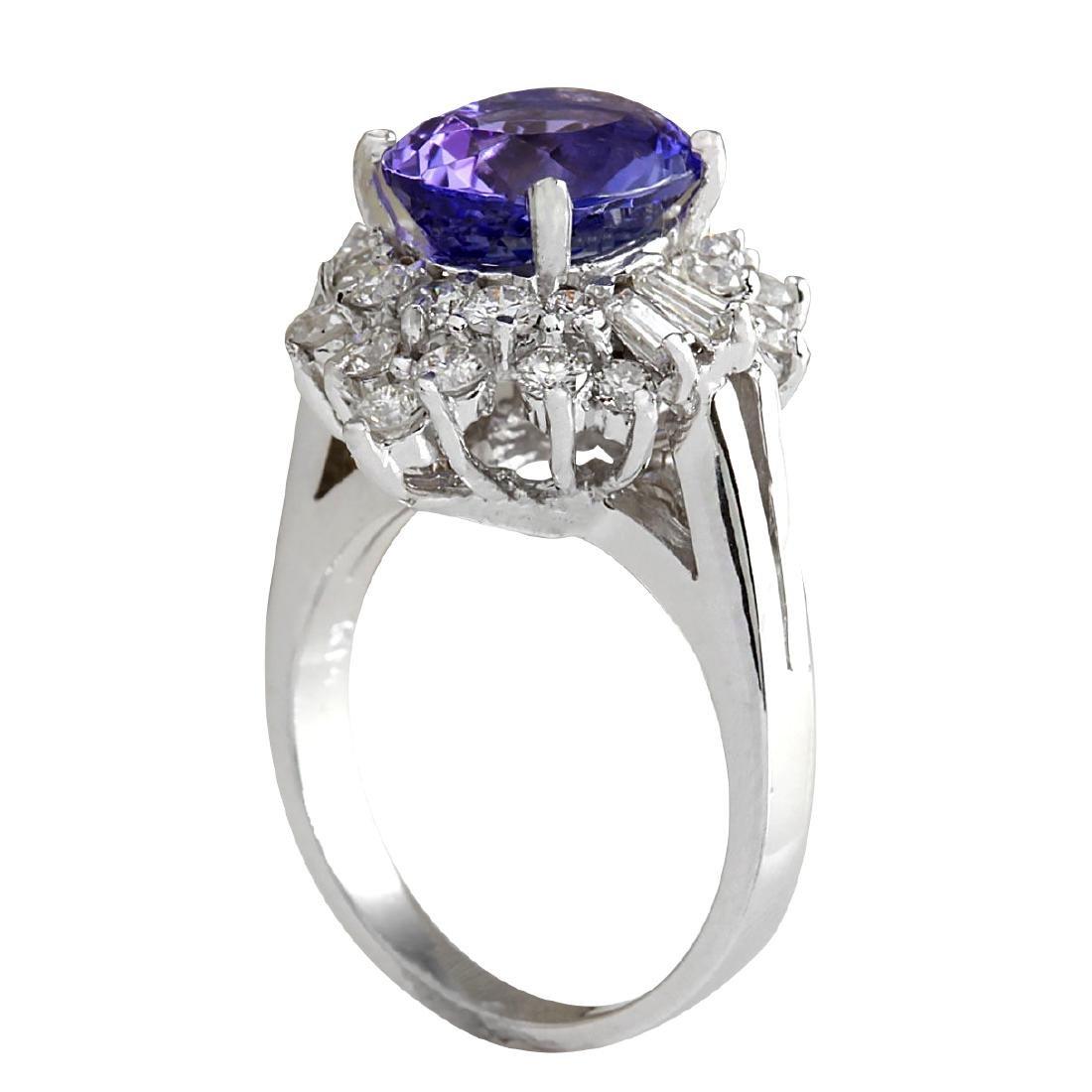 5.31CTW Natural Tanzanite And Diamond Ring 18K Solid - 3