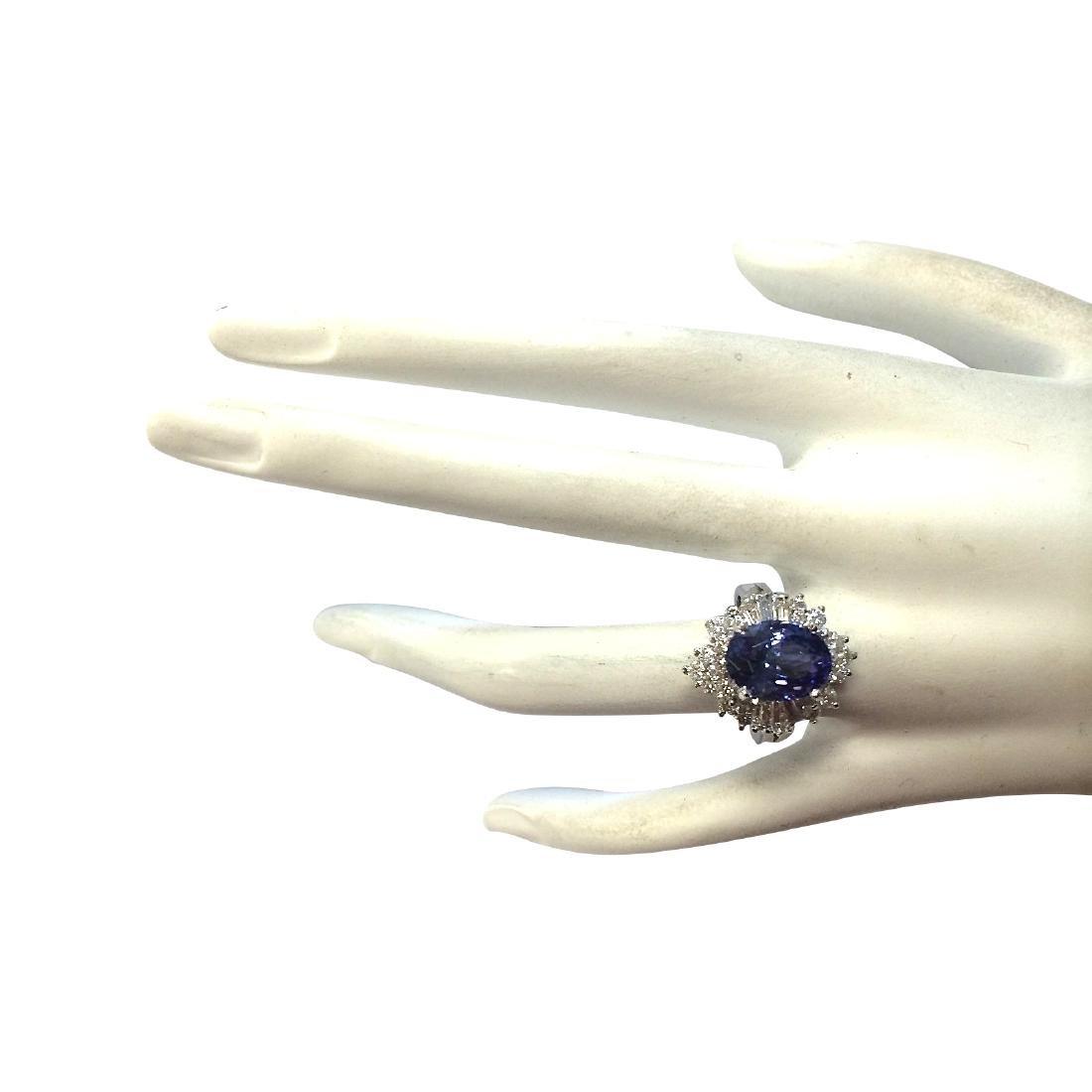 5.31CTW Natural Tanzanite And Diamond Ring 18K Solid - 4