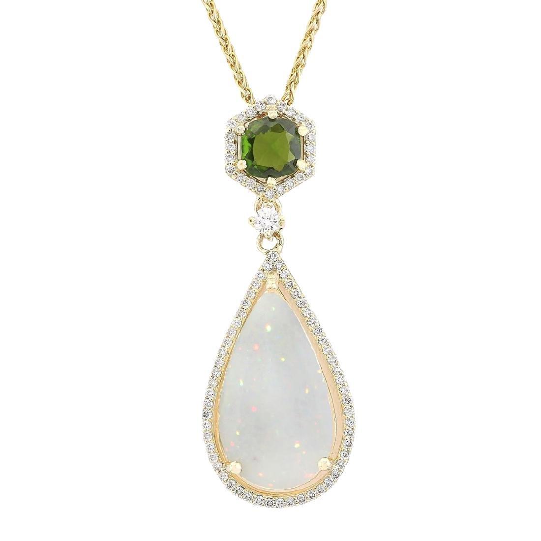 8.39 CTW Natural Opal Tsavorite Diamond Pendant In 18K