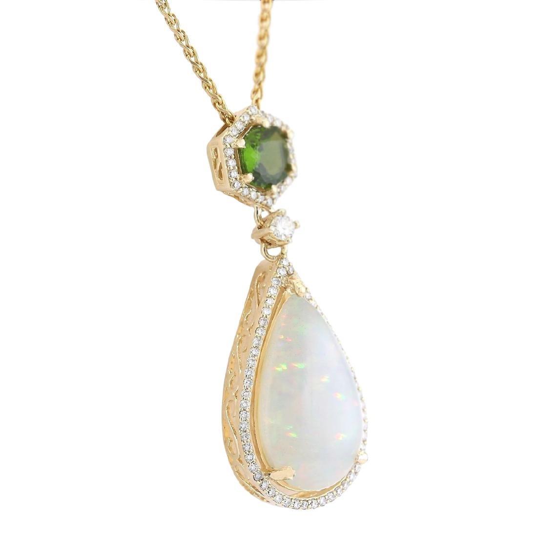 8.39 CTW Natural Opal Tsavorite Diamond Pendant In 18K - 2