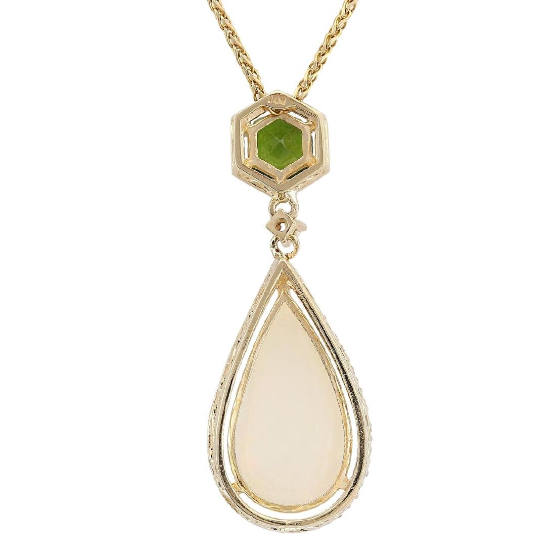 8.39 CTW Natural Opal Tsavorite Diamond Pendant In 18K - 3