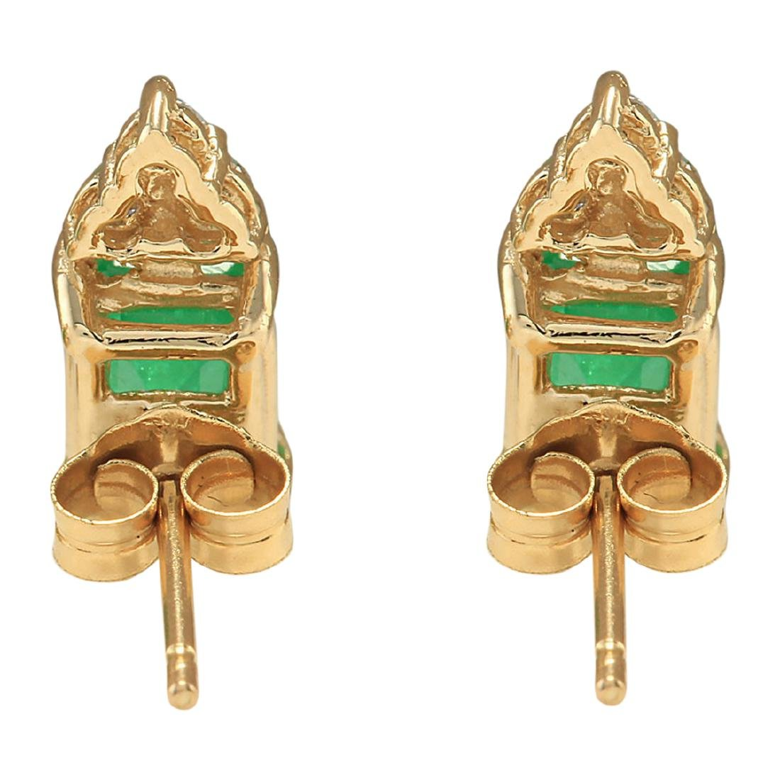 1.60 CTW Natural Emerald And Diamond Earrings 18K Solid - 2