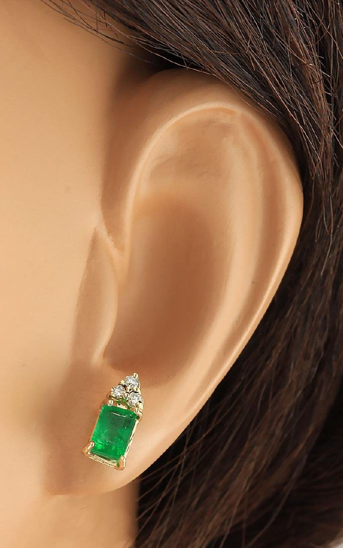 1.60 CTW Natural Emerald And Diamond Earrings 18K Solid - 3