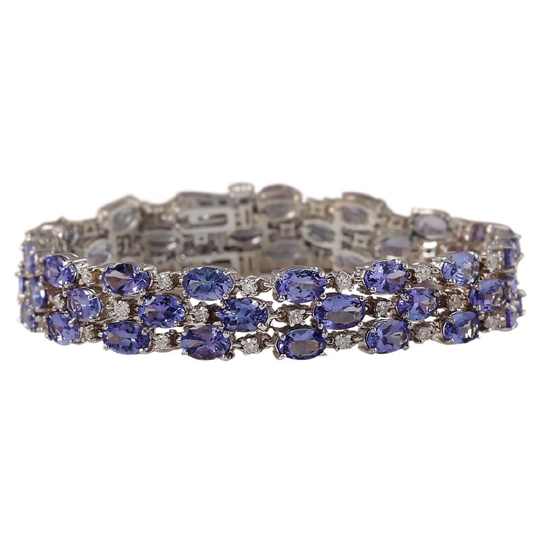 23.85 CTW Natural Tanzanite And Dimond Bracelet In 18K