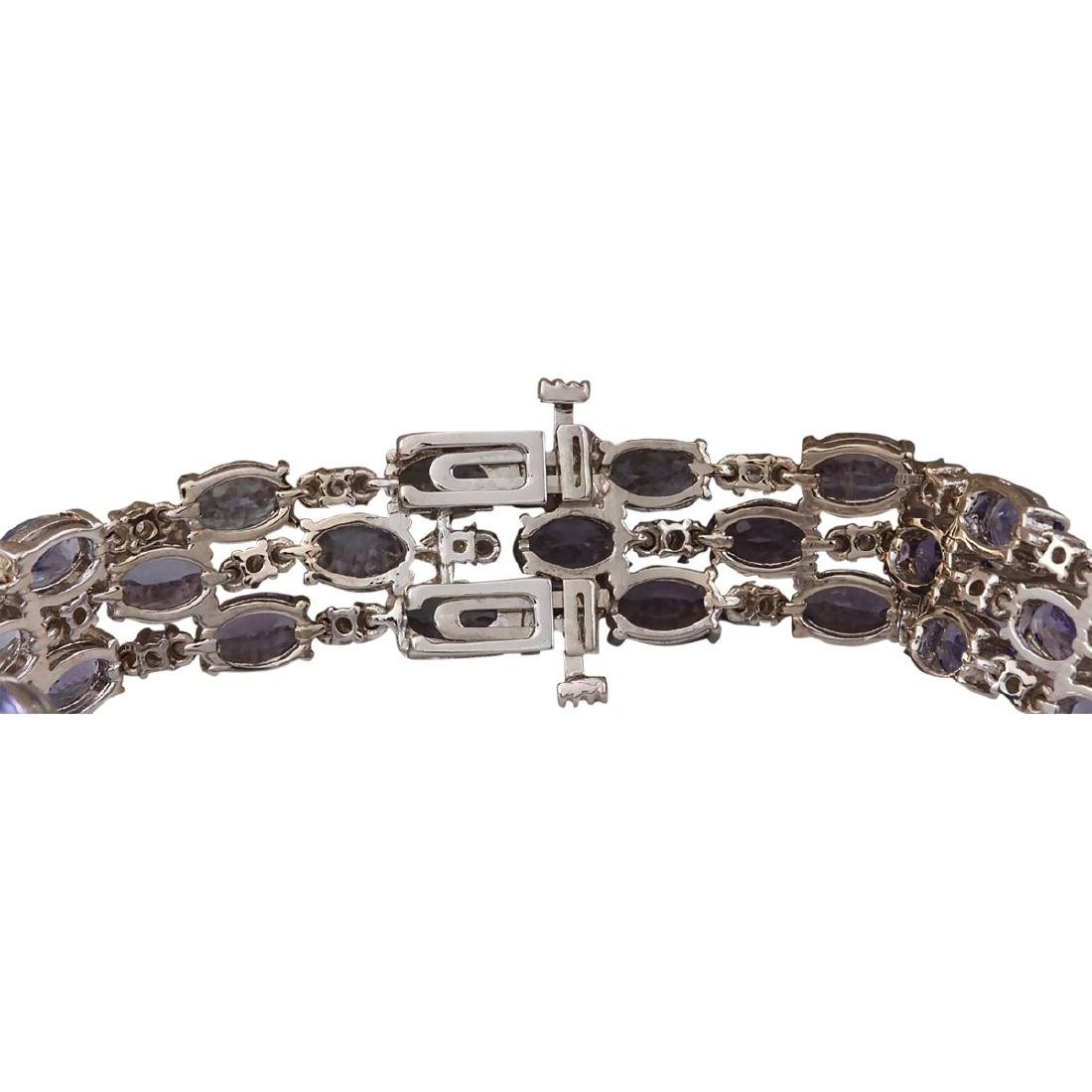 23.85 CTW Natural Tanzanite And Dimond Bracelet In 18K - 2