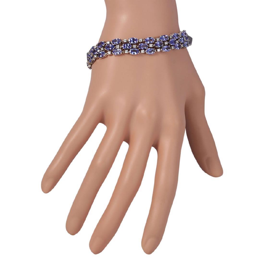 23.85 CTW Natural Tanzanite And Dimond Bracelet In 18K - 3