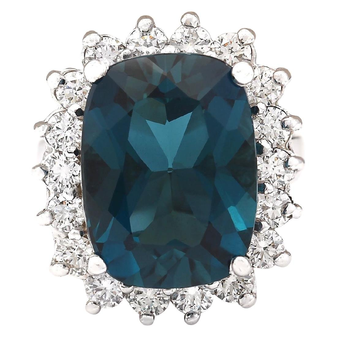 15.04 CTW Natural London Blue Topaz And Diamond Ring