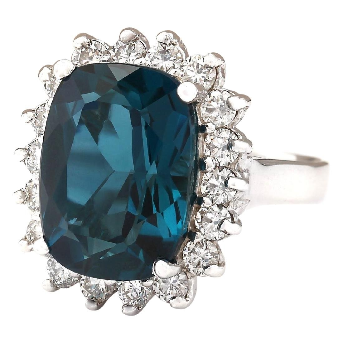15.04 CTW Natural London Blue Topaz And Diamond Ring - 2