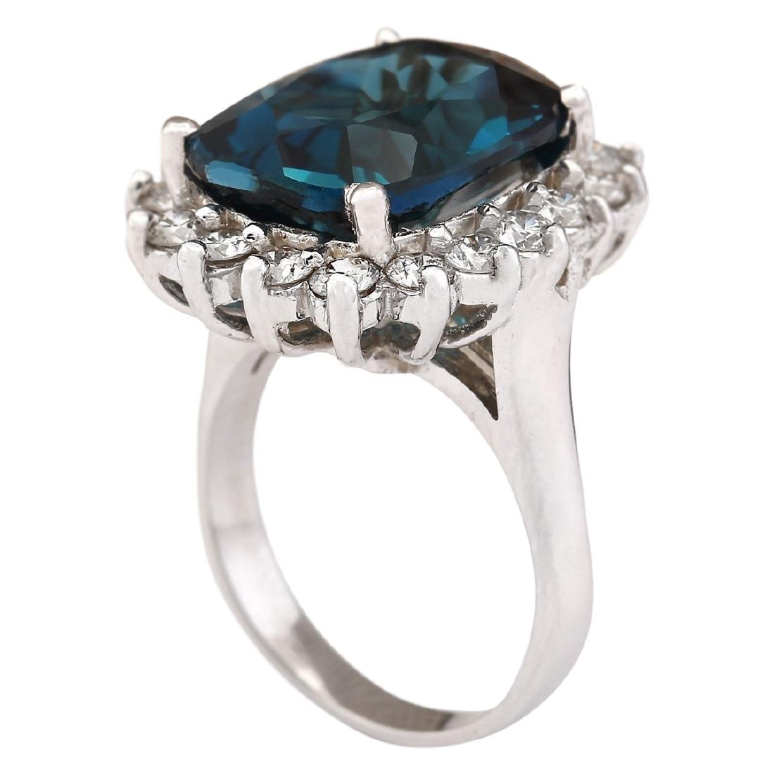 15.04 CTW Natural London Blue Topaz And Diamond Ring - 3